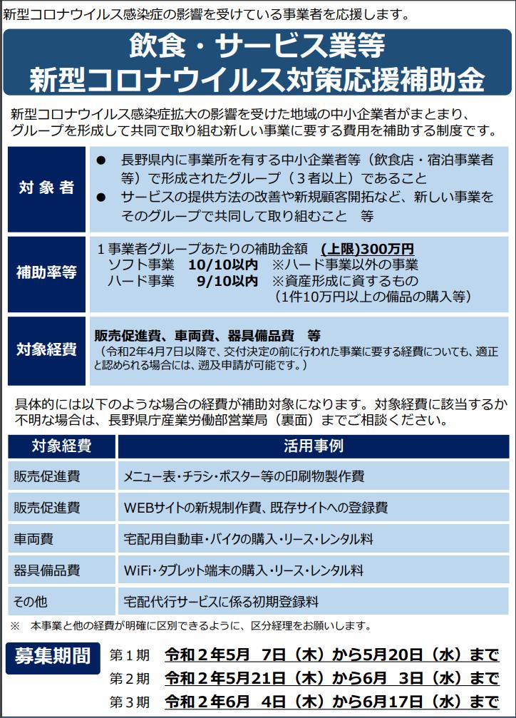 長野県の飲食・サービス業向けコロナ対応型応援事業がスゴイ!